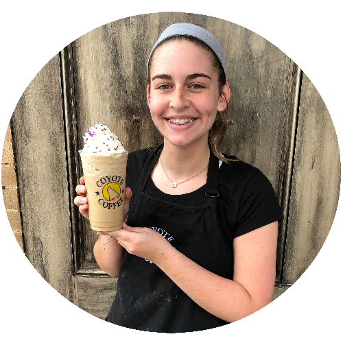 Barista Ashley's drink pick of the month, Lavendar Cheesecake, for May.